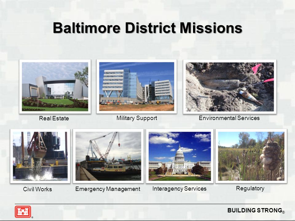 BUILDING STRONG ® Baltimore District Missions Civil Works Military Support Emergency Management Real Estate Environmental Services Interagency Service
