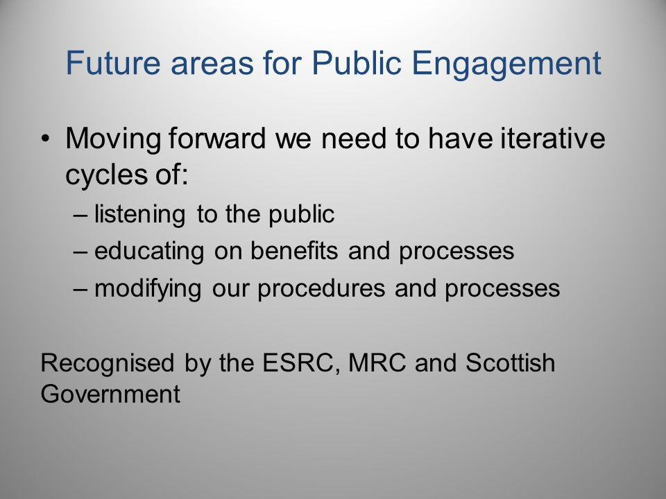 Future areas for Public Engagement Moving forward we need to have iterative cycles of: –listening to the public –educating on benefits and processes –modifying our procedures and processes Recognised by the ESRC, MRC and Scottish Government