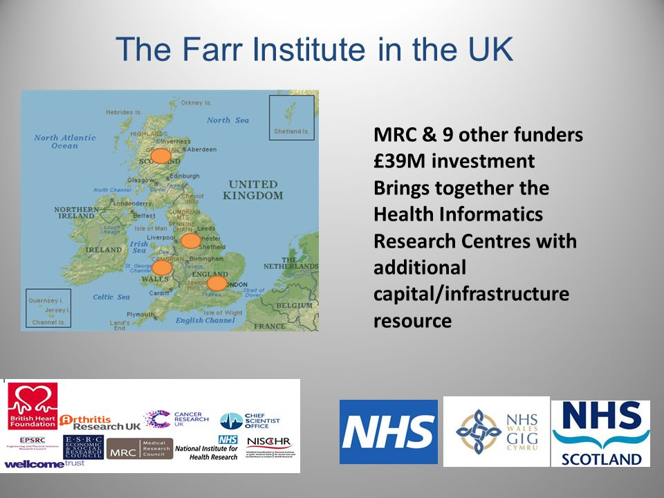 The Farr Institute in the UK MRC & 9 other funders £39M investment Brings together the Health Informatics Research Centres with additional capital/infrastructure resource