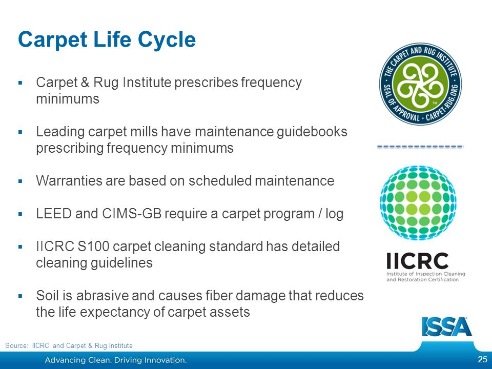 Carpet Life Cycle  Carpet & Rug Institute prescribes frequency minimums  Leading carpet mills have maintenance guidebooks prescribing frequency minimums  Warranties are based on scheduled maintenance  LEED and CIMS-GB require a carpet program / log  IICRC S100 carpet cleaning standard has detailed cleaning guidelines  Soil is abrasive and causes fiber damage that reduces the life expectancy of carpet assets 25 Source: IICRC and Carpet & Rug Institute