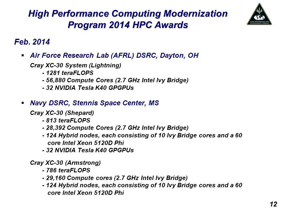 High Performance Computing Modernization Program 2014 HPC Awards Feb. 2014  Air Force Research Lab (AFRL) DSRC, Dayton, OH Cray XC-30 System (Lightni
