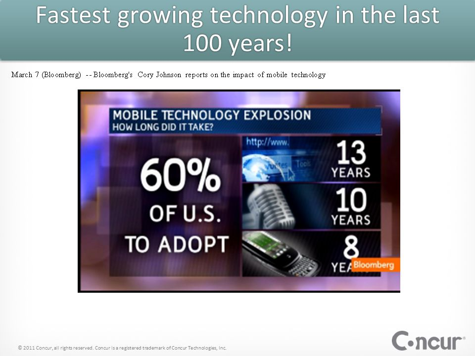Mobile is growing like wildfire © 2011 Concur, all rights reserved.