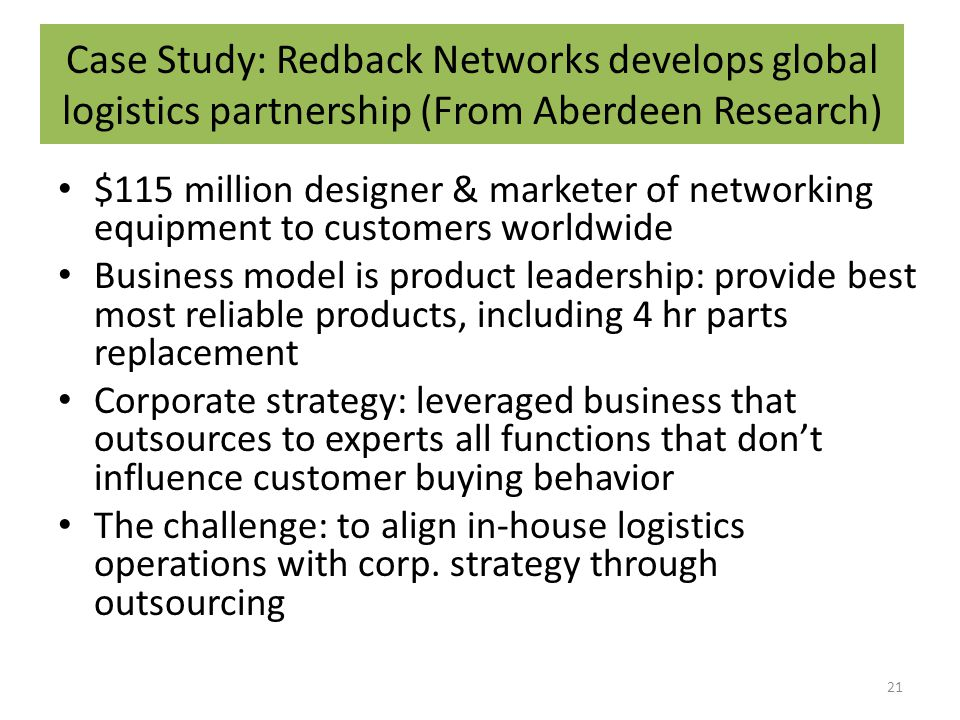 Case Study: Redback Networks develops global logistics partnership (From Aberdeen Research) $115 million designer & marketer of networking equipment to customers worldwide Business model is product leadership: provide best most reliable products, including 4 hr parts replacement Corporate strategy: leveraged business that outsources to experts all functions that don't influence customer buying behavior The challenge: to align in-house logistics operations with corp.