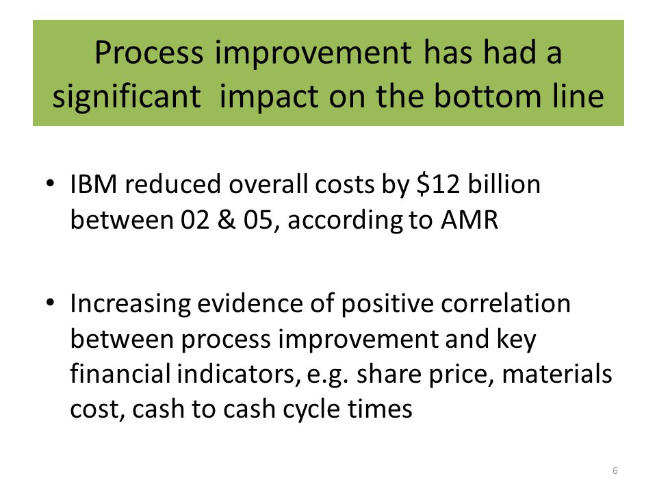 Process improvement has had a significant impact on the bottom line IBM reduced overall costs by $12 billion between 02 & 05, according to AMR Increasing evidence of positive correlation between process improvement and key financial indicators, e.g.