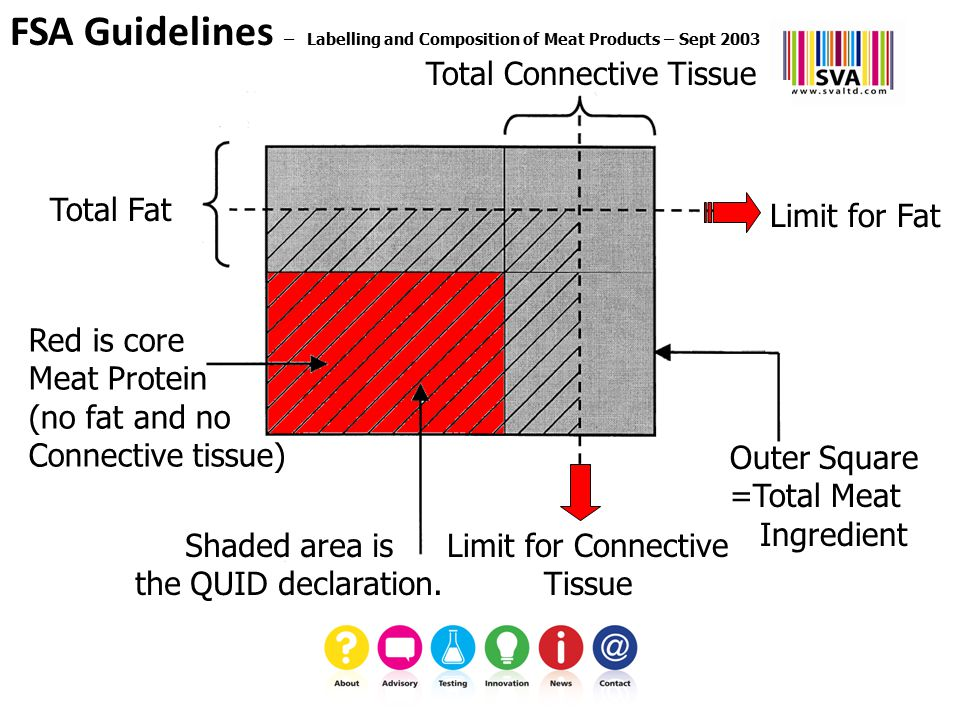 Total Fat Total Connective Tissue Limit for Connective Tissue Red is core Meat Protein (no fat and no Connective tissue) Outer Square =Total Meat Ingredient FSA Guidelines – Labelling and Composition of Meat Products – Sept 2003 Shaded area is the QUID declaration.