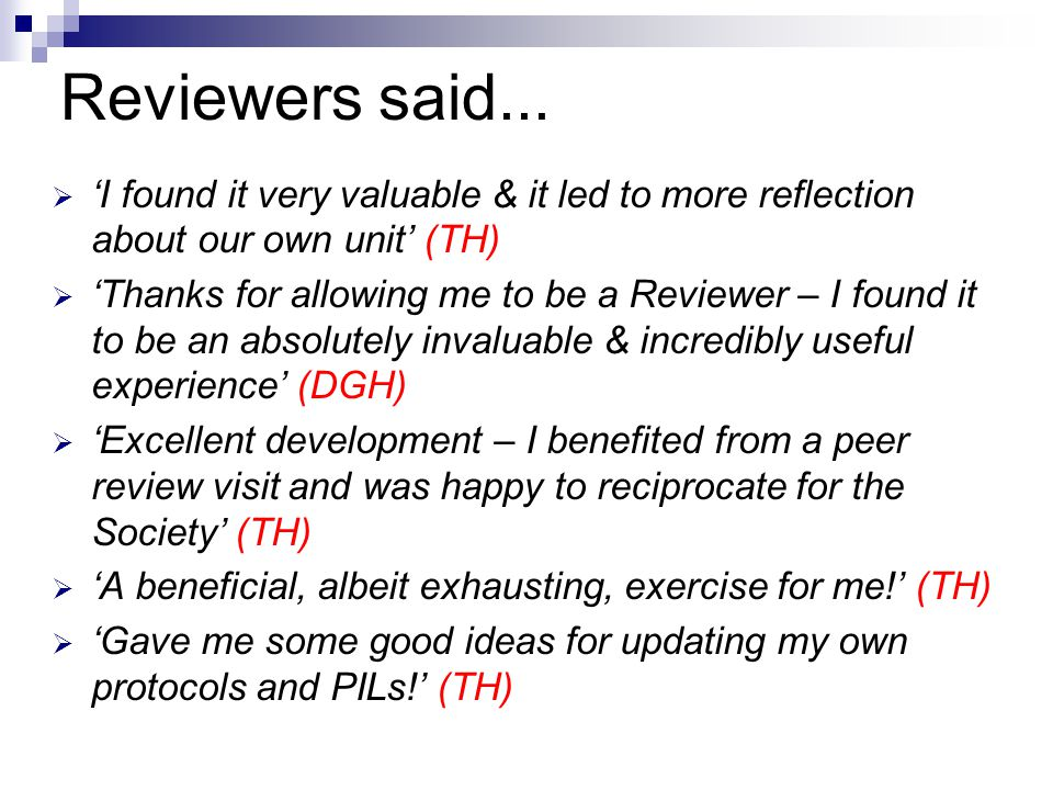 Reviewers said...