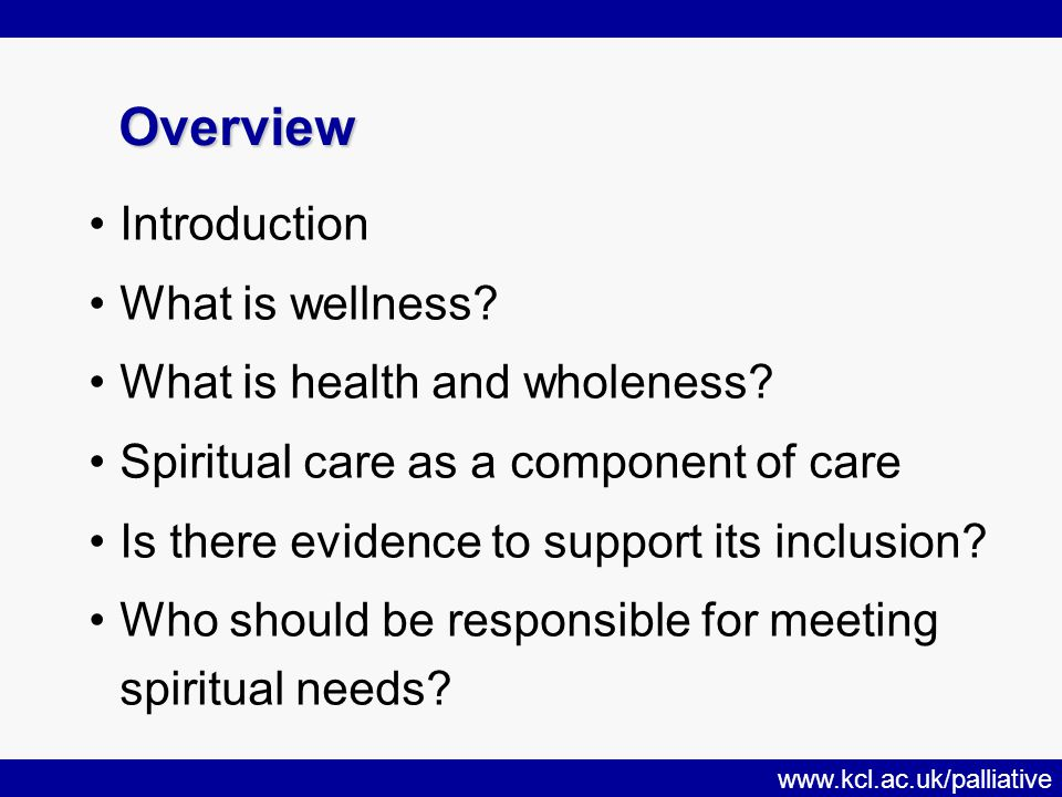 www.kcl.ac.uk/palliative Overview Overview Introduction What is wellness.
