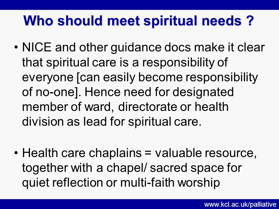 www.kcl.ac.uk/palliative Who should meet spiritual needs .