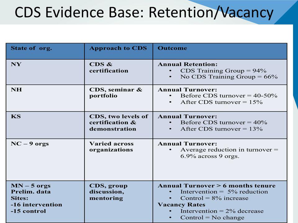 CDS Evidence Base: Retention/Vacancy