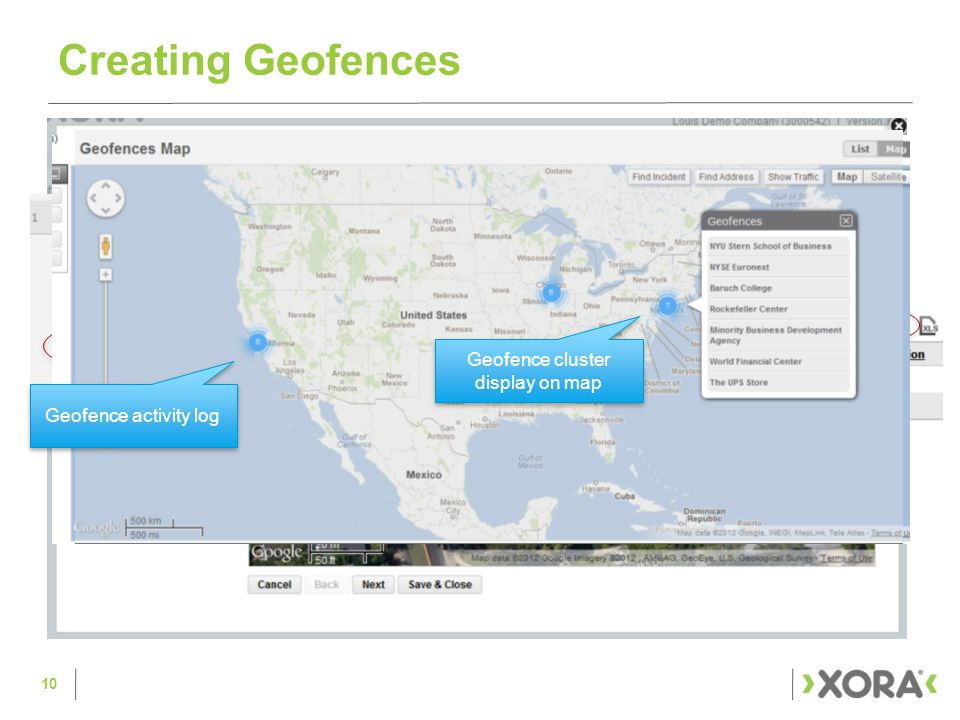 Creating Geofences Geofence activity log Geofence cluster display on map 10