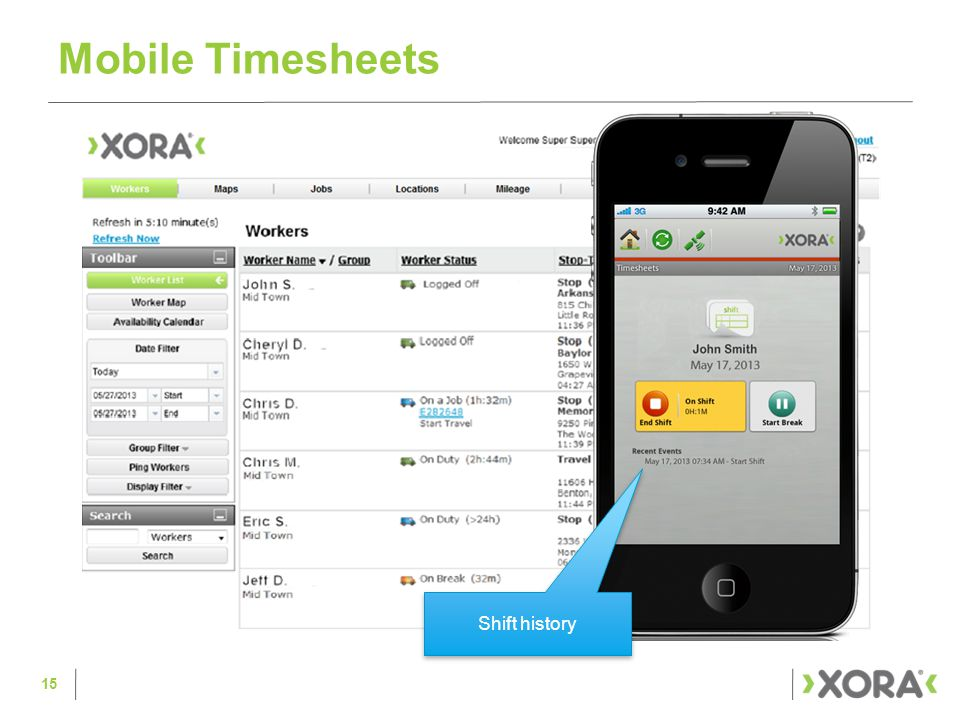 Mobile Timesheets 15 Shift history