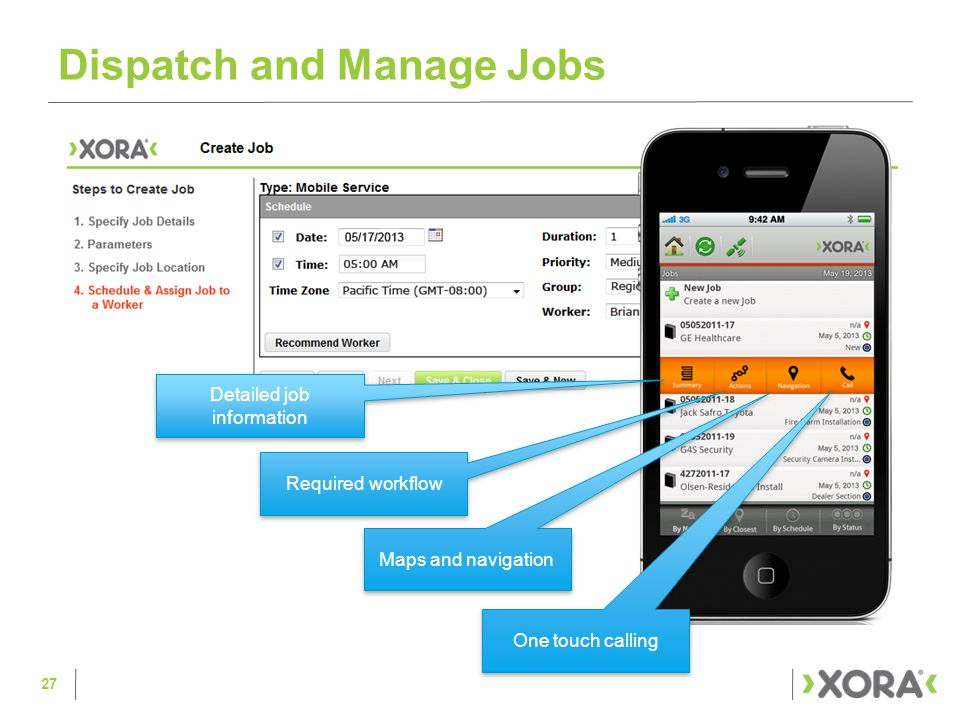 Dispatch and Manage Jobs 27 Detailed job information Required workflow Maps and navigation One touch calling