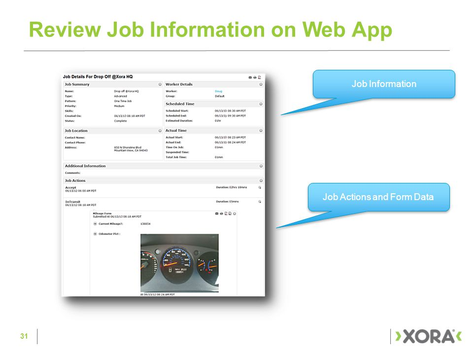 Review Job Information on Web App 31 Job Actions and Form Data Job Information