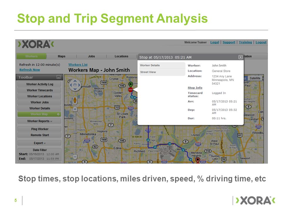 Stop and Trip Segment Analysis 5 Stop times, stop locations, miles driven, speed, % driving time, etc