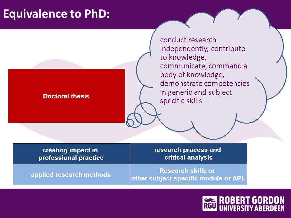 Equivalence to PhD: applied research methods creating impact in professional practice Research skills or other subject specific module or APL research process and critical analysis conduct research independently, contribute to knowledge, communicate, command a body of knowledge, demonstrate competencies in generic and subject specific skills Doctoral thesis