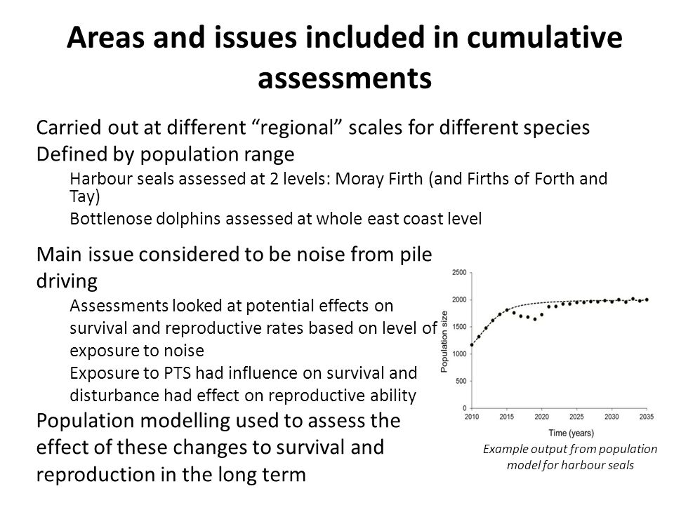 Monitoring Funding of population and demographic data collection for harbour seals and bottlenose dolphins (Aberdeen and St Andrews universities) Passive acoustic monitoring of dolphins and porpoises on east coast (MSS) to allow assessment of changes to distribution – Using CPODs to detect porpoise and dolphin presence and SM2Ms to record dolphin whistles for species ID