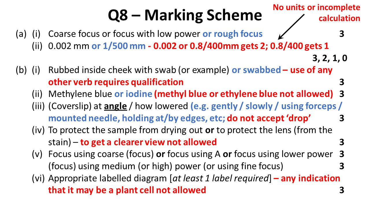Q8 – Marking Scheme (a)(i)Coarse focus or focus with low power or rough focus3 (ii)0.002 mm or 1/500 mm - 0.002 or 0.8/400mm gets 2; 0.8/400 gets 1 3,