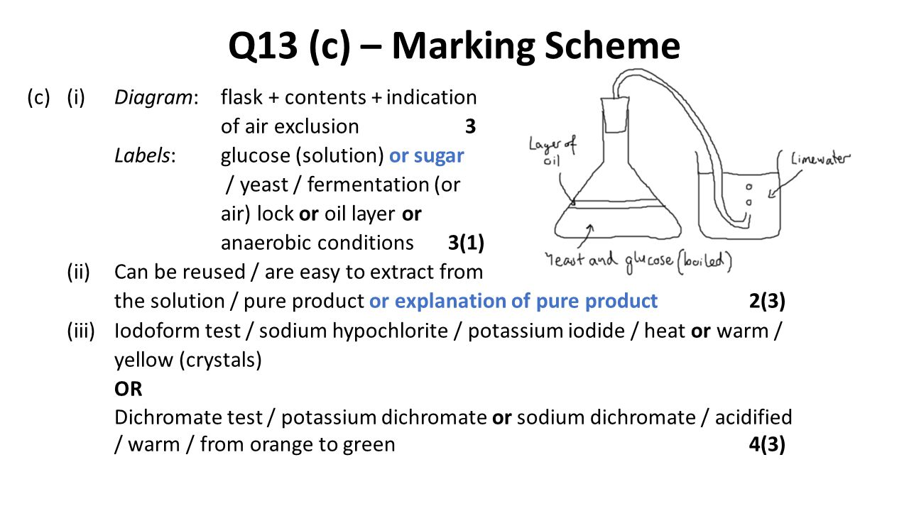 Q13 (c) – Marking Scheme (c)(i)Diagram:flask + contents + indication of air exclusion 3 Labels:glucose (solution) or sugar / yeast / fermentation (or
