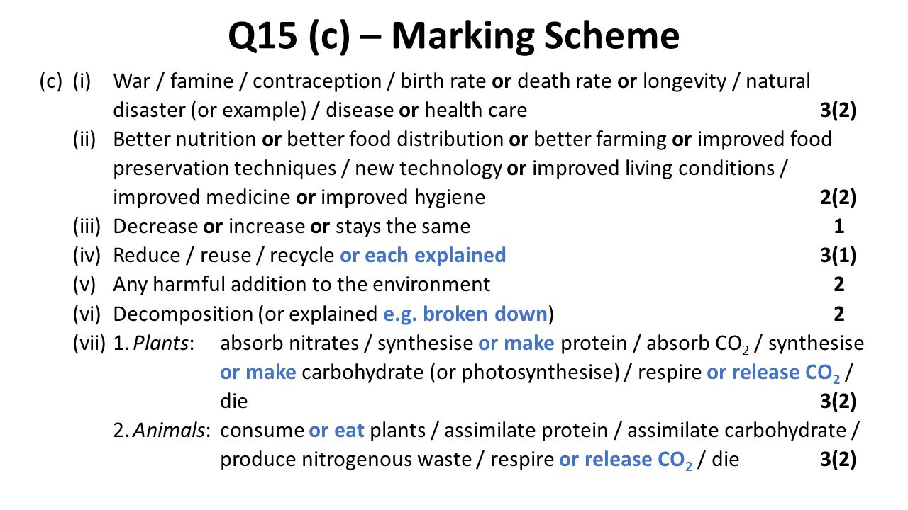 Q15 (c) – Marking Scheme (c)(i)War / famine / contraception / birth rate or death rate or longevity / natural disaster (or example) / disease or healt