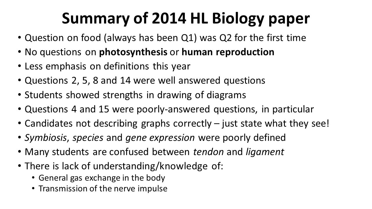 Summary of 2014 HL Biology paper Question on food (always has been Q1) was Q2 for the first time No questions on photosynthesis or human reproduction