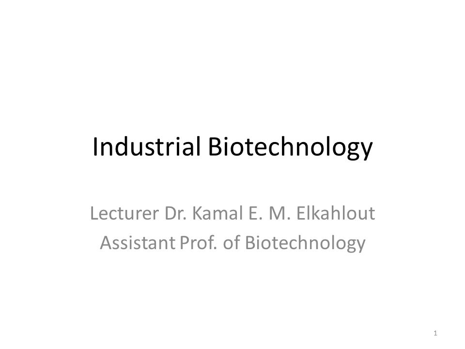 Industrial Biotechnology Lecturer Dr. Kamal E. M. Elkahlout Assistant Prof. of Biotechnology 1