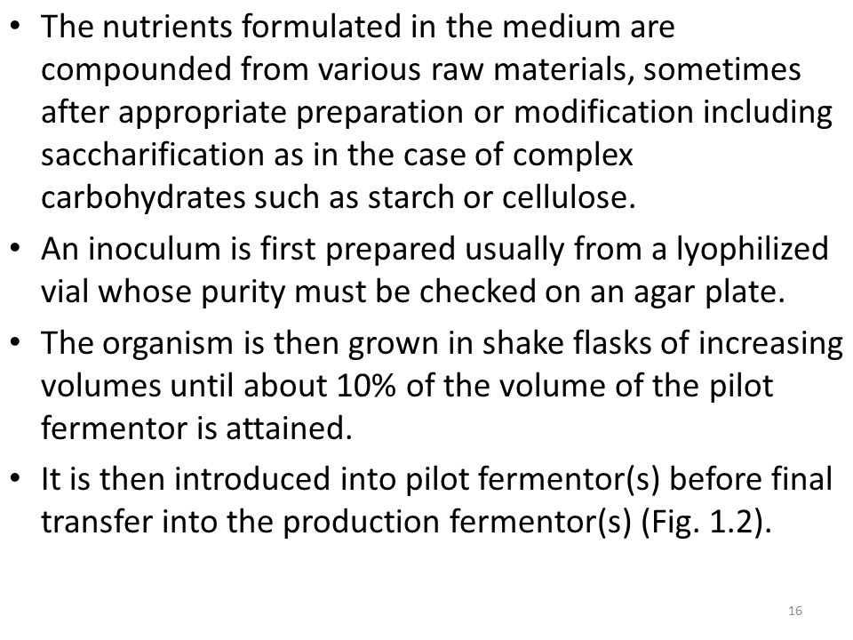 The nutrients formulated in the medium are compounded from various raw materials, sometimes after appropriate preparation or modification including sa