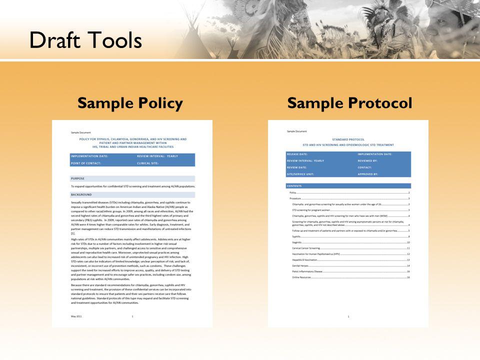 Draft Tools Sample Policy Sample Protocol