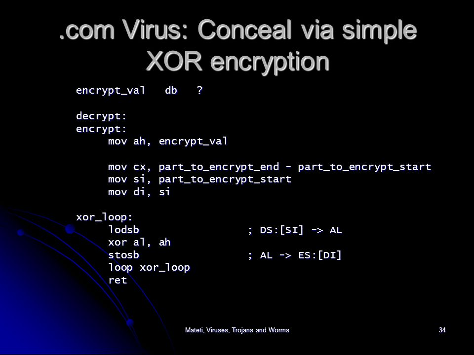 Mateti, Viruses, Trojans and Worms34.com Virus: Conceal via simple XOR encryption encrypt_val db .