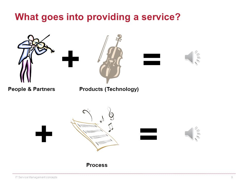 What goes into providing a service? People & Partners Products (Technology) + = IT Service Management concepts 8