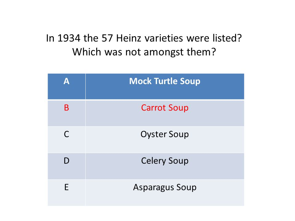 AMock Turtle Soup BCarrot Soup COyster Soup DCelery Soup EAsparagus Soup In 1934 the 57 Heinz varieties were listed? Which was not amongst them?
