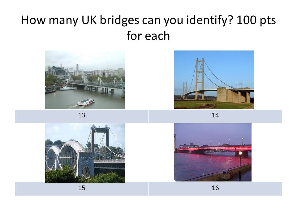 How many UK bridges can you identify? 100 pts for each 1314 1516