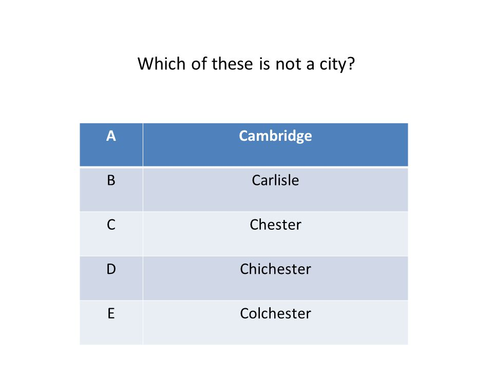 ACambridge BCarlisle CChester DChichester EColchester Which of these is not a city?