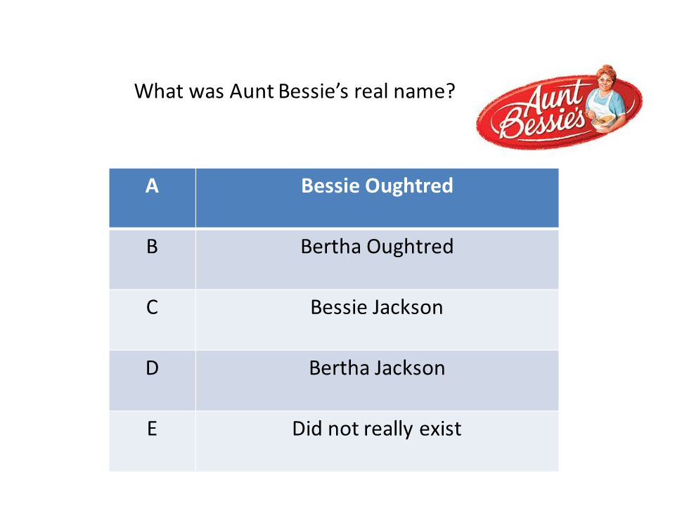 ABessie Oughtred BBertha Oughtred CBessie Jackson DBertha Jackson EDid not really exist What was Aunt Bessie's real name?