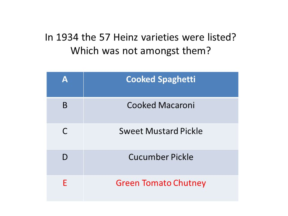 ACooked Spaghetti BCooked Macaroni CSweet Mustard Pickle DCucumber Pickle EGreen Tomato Chutney In 1934 the 57 Heinz varieties were listed? Which was