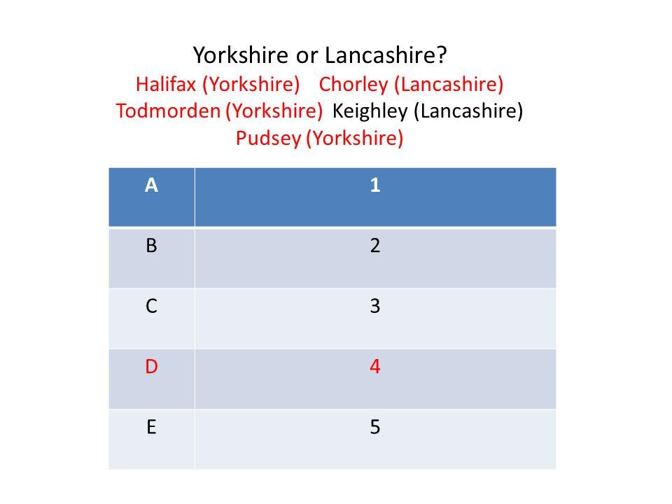 A1 B2 C3 D4 E5 Yorkshire or Lancashire.