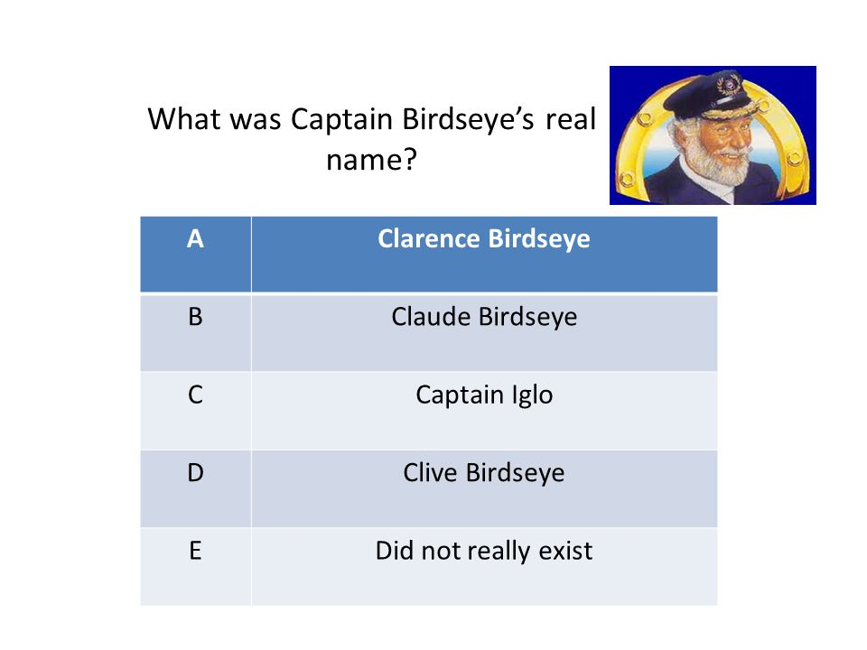 AClarence Birdseye BClaude Birdseye CCaptain Iglo DClive Birdseye EDid not really exist What was Captain Birdseye's real name?