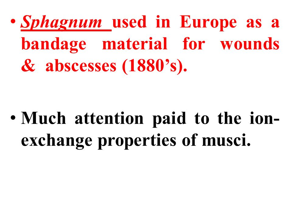 Sphagnum used in Europe as a bandage material for wounds & abscesses (1880's). Much attention paid to the ion- exchange properties of musci.