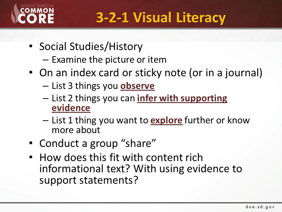 3-2-1 Visual Literacy 3-2-1 Visual Literacy Social Studies/History – Examine the picture or item On an index card or sticky note (or in a journal) – List 3 things you observe – List 2 things you can infer with supporting evidence – List 1 thing you want to explore further or know more about Conduct a group share How does this fit with content rich informational text.
