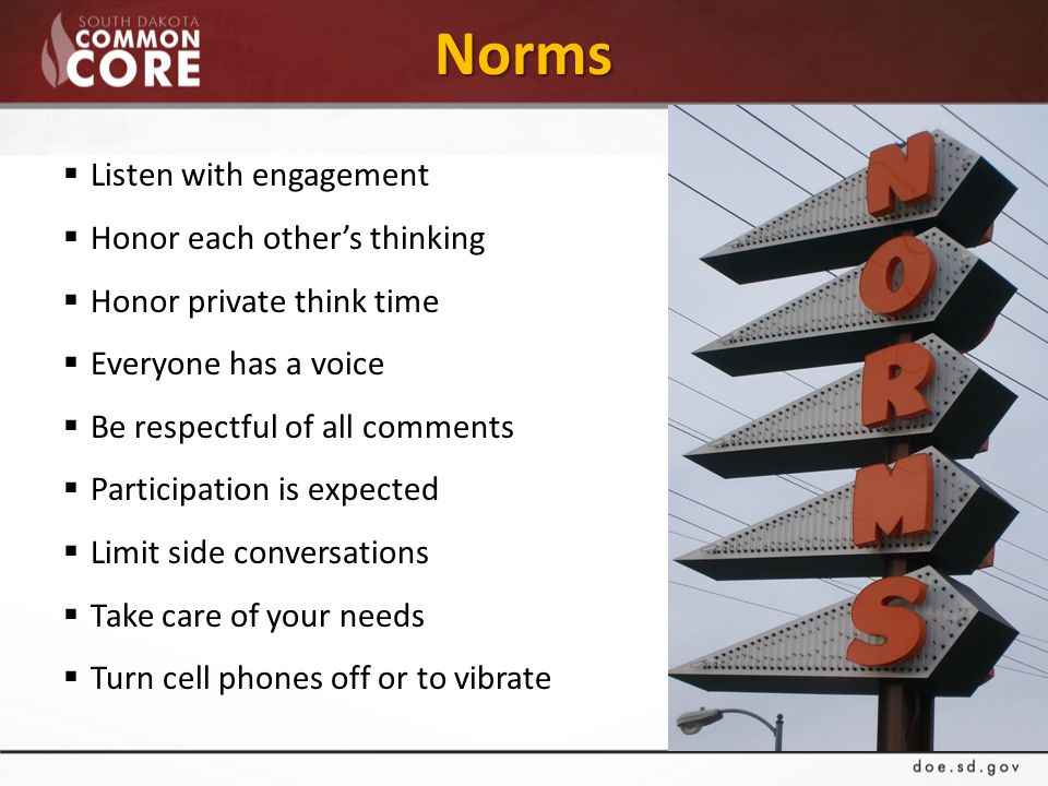 Norms  Listen with engagement  Honor each other's thinking  Honor private think time  Everyone has a voice  Be respectful of all comments  Participation is expected  Limit side conversations  Take care of your needs  Turn cell phones off or to vibrate