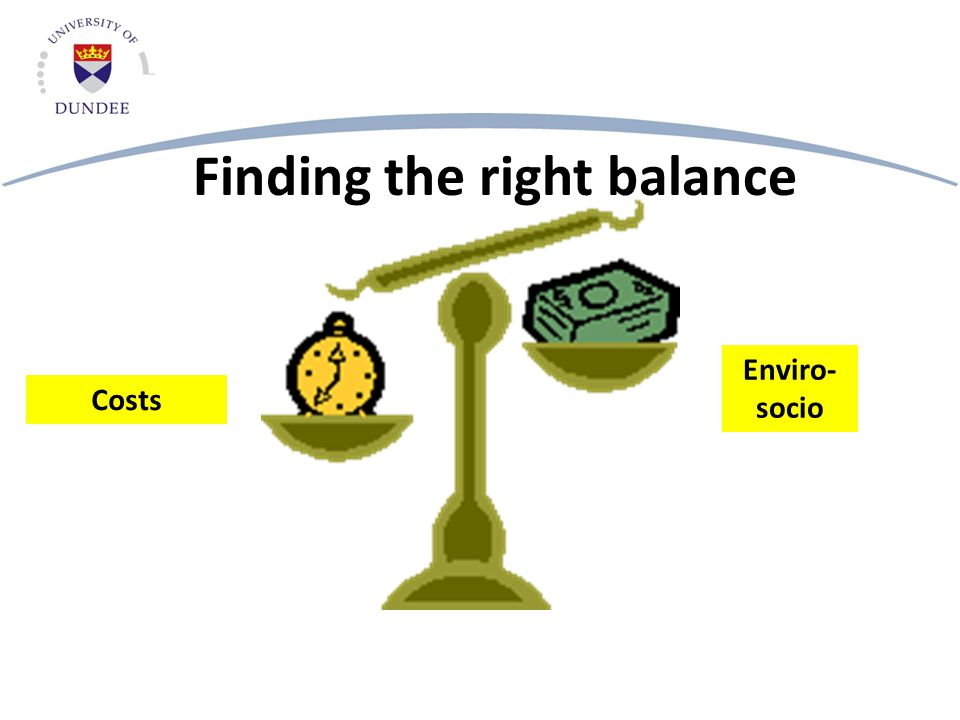 Finding the right balance Costs Enviro- socio