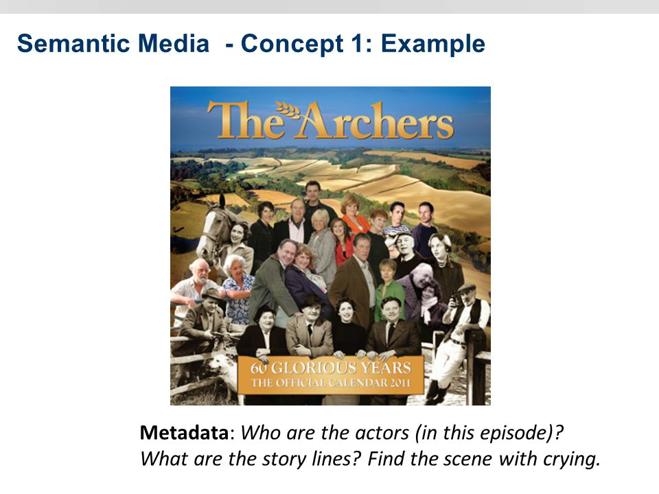 Semantic Media - Concept 1: Example Metadata: Who are the actors (in this episode).