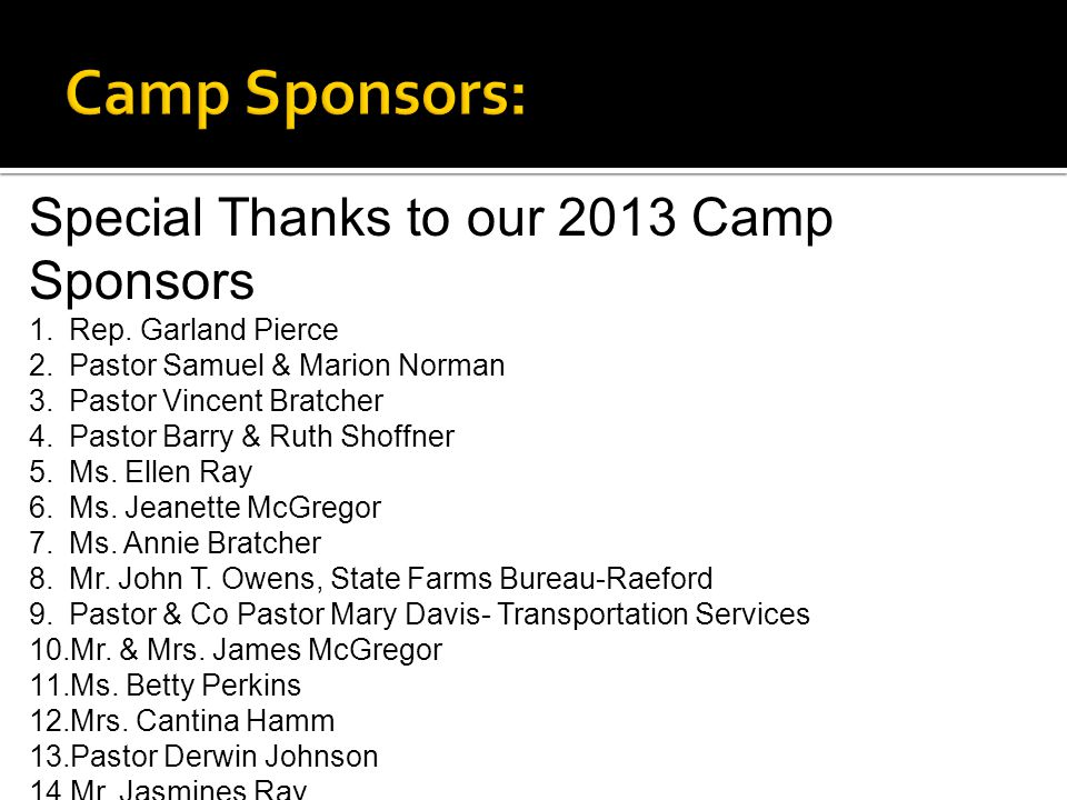 Special Thanks to our 2013 Camp Sponsors 1.Rep.