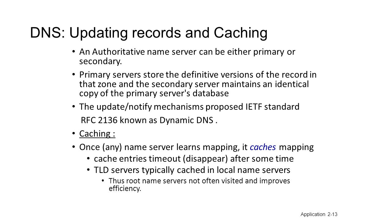 DNS: Updating records and Caching An Authoritative name server can be either primary or secondary.