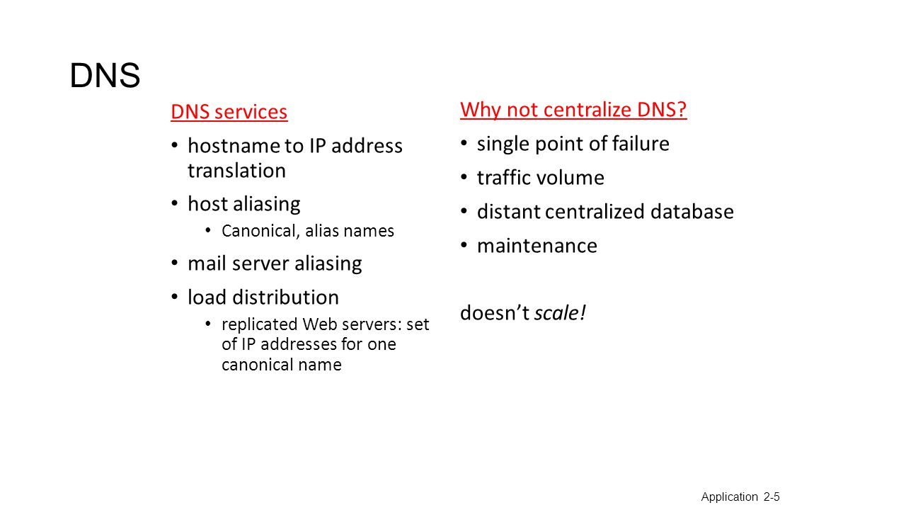 Root DNS Servers com DNS servers org DNS serversedu DNS servers poly.edu DNS servers umass.edu DNS servers yahoo.com DNS servers amazon.com DNS servers pbs.org DNS servers Distributed, Hierarchical Database client wants IP for www.amazon.com; 1 st approx: client queries a root server to find com DNS server client queries com DNS server to get amazon.com DNS server client queries amazon.com DNS server to get IP address for www.amazon.com Application 2-6