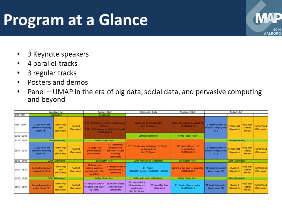 Program at a Glance 3 Keynote speakers 4 parallel tracks 3 regular tracks Posters and demos Panel – UMAP in the era of big data, social data, and perv