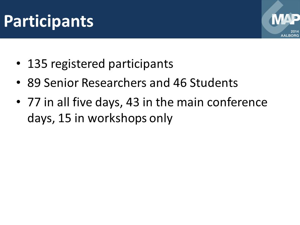 Participants 135 registered participants 89 Senior Researchers and 46 Students 77 in all five days, 43 in the main conference days, 15 in workshops on