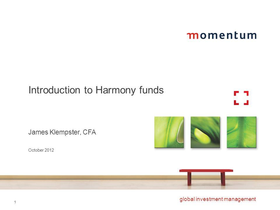 22 global investment management Harmony US Dollar Balanced performance Source: Lipper Hindsight, Momentum Global Investment Management, October 2012..
