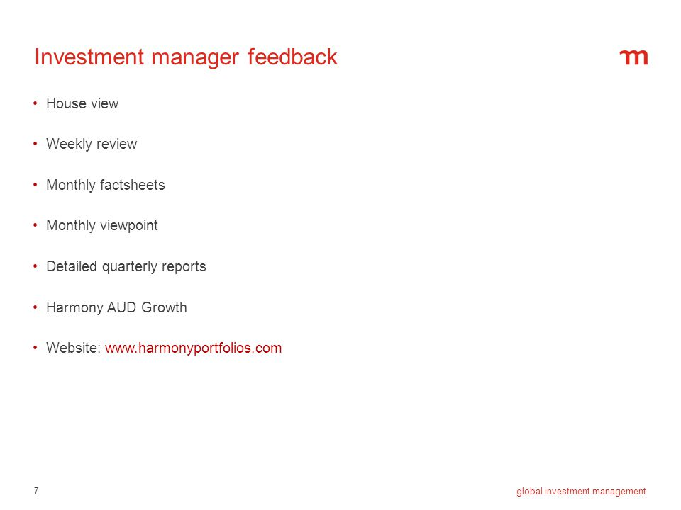18 global investment management Harmony Balanced fund strategic allocation October 2012
