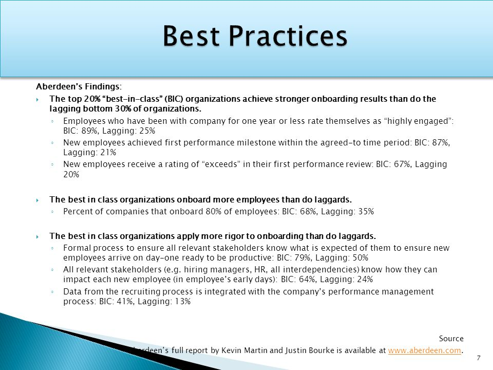 """Aberdeen's Findings:  The top 20% """"best-in-class"""" (BIC) organizations achieve stronger onboarding results than do the lagging bottom 30% of organizat"""
