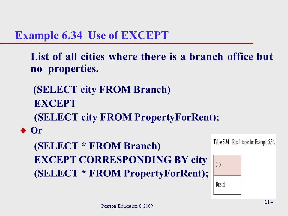 114 Example 6.34 Use of EXCEPT List of all cities where there is a branch office but no properties.